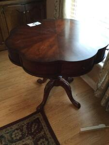 Solid Wood Pedestal table with 2 drawers (Haverty's) (Matches #1, 2, & 3)