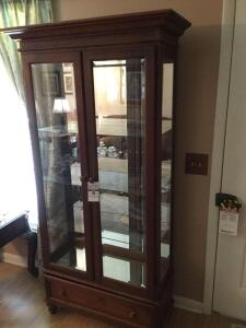 Lighted glass display cabinet Mirrored back glass doors & shelves- Drawer at bottom