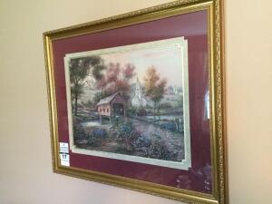 Gold framed  & matted wall art - covered bridge