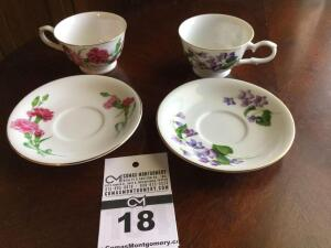 Avon 1991 cup & saucer collector set: 2 cups sets -  January & February ( in original box)