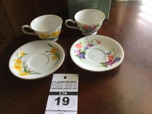 Avon 1991 cup & saucer collector set: 2 cup set - March & April (in original box)