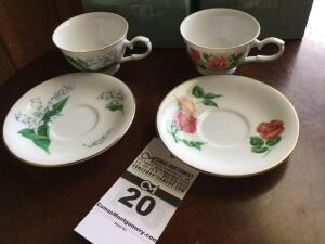 Avon 1991 cup & saucer collector set; 2 cup sets - May & June (in original box)