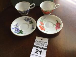 Avon 1991 cup & saucer collector set: 2 cup sets - July & August (in original box)