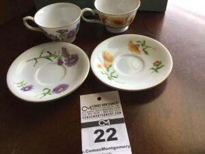 Avon 1991 cup & saucer collector set: 2 cup sets - September & October (in original box)