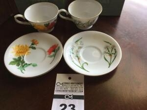 Avon 1991 cup & saucer collector set: 2 cup sets - November & December (in original box)