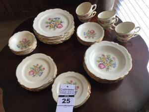 "Antique Homer Laughlin China ""Petit point""  6 place settings (each set includes - luncheon plate,  dessert plate, bread & butter plate, dessert bowl, cup & saucer) 36 total"