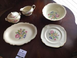 "Antique Homer Laughlin China ""Petit point"" Serving pieces: platter, serving bowl, square plate, creamer & sugar bowl with lid"