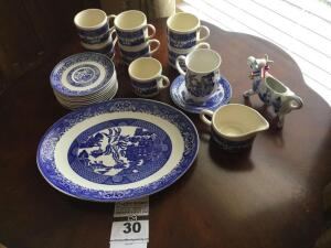 Vintage dinnerware pieces (No markings) similar to Blue Willow: 7 cups, 8 saucers, platter, creamer,  & additional items