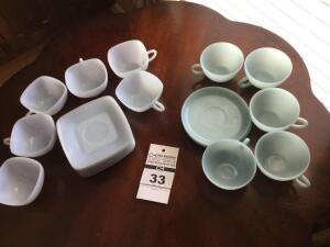 Vintage blue cups & saucers: Square saucers (9)& cups (6) and round cups (5) & saucers (3)