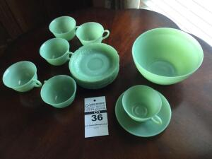 Antique pieces of Fire King dishes Jade: Mixing bowl, 6 cups, 8 saucers with flower design & additional saucer