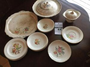 Variety of pieces of China: Covered bowl with lid & sugar bowl with lid/platter and saucers & plate