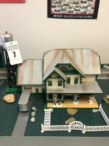 Farmhouse and Water Tower Train Set Building - Trains are in O Scale - 1:48
