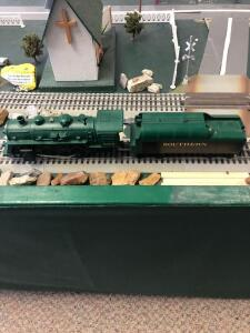 Southern Train Engine and Car - Table is 5 Feet Wide by 18 Feet Long (2 Ping Pong Tables) - Trains are in O Scale - 1:48