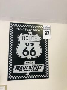 Route 66 Sign and Alexander License Plate