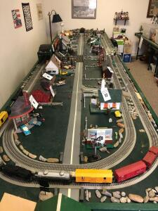 Train Set Table. Does Not Include Accessories, Buildings, or Trains - Table is 5 Feet Wide by 18 Feet Long (2 Ping Pong Tables)