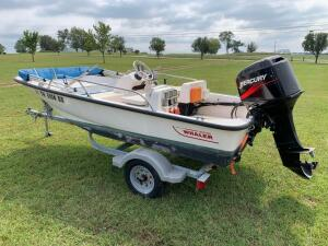NOW SELLING ABSOLUTE! 2004 Boston Whaler 130 Sport Boat and Trailer - Mercury 40 HP Outboard Motor w/ 50+/- hrs (Model: 40ELPTO), Garmin GPS Map 162, Hummingbird Piranhamax 15 Fishfinde