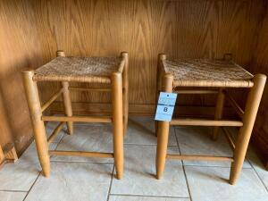 Pair of Wooden Stools with Woven Seats - 14.5in W x 20in T