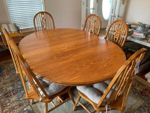 Oak Clawfoot Table and (6) Chairs - Table recently refinished - 49in W x 67.5in L x 30in T (with 18in leaf)