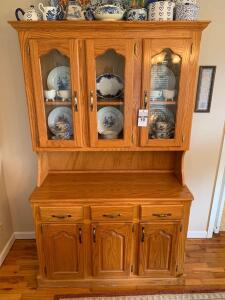 Oak Hutch Cabinet (cabinet only, contents not included) - 48in W x 19in D x 79in T