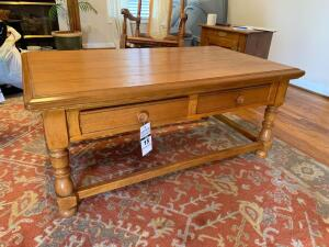 Wooden Coffee Table - 48in W x 28in D x 21in T (matches side table in Lot 35)