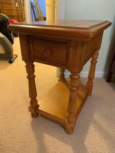 Wooden Side Table - (matches coffee table in Lot 15)