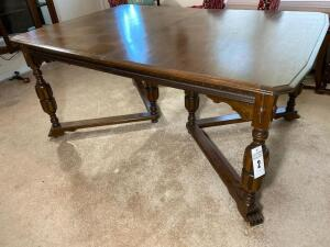 Antique solid wood dining table -31 1/2 inches tall, 64 inches deep 45 inches wide - C