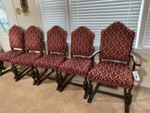 Six antique chairs - 40 inch high-back, 19 inch high seat - C