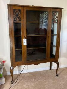 Antique China cabinet - 64 1/2 inches tall, 44 inches wide and 15 inches deep. Glass door cabinet - C