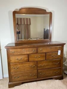 Vintage dresser and mirror by Vaughn and Bassett - Dresser without the mirror 42 inches tall 16 inches wide 18 inches deep. With mirror 81 inches high - D