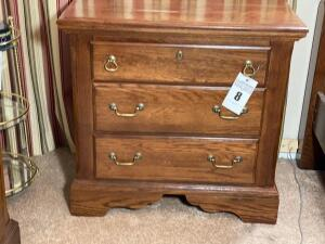 Vintage bedside table by Vaughn and Bassett - 28 inches tall 29 wide 16 inches deep - D