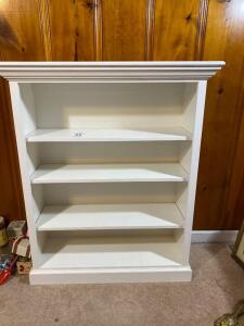 Solid wooden white bookcase - 48 inches tall 40 inches wide 14 inches deep - A