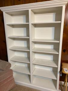 Solid wooden tall white bookcase - 71 1/2 inches tall 52 wide and 14 deep - A