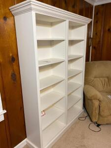 Solid wooden tall white bookcase -71 1/2 inches tall 52 wide and 14 deep - A