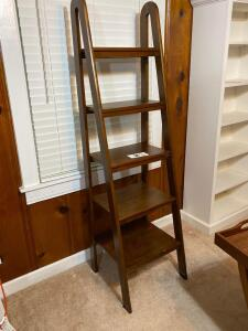 Solid wooden ladder style five tier shelf -67 1/2 inches tall 19 wide and 19 deep - A