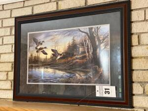 Matted and framed duck print - 24 x 34 - A