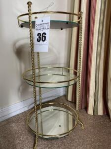 Three tier round mirror shelves - 25 1/2 inches tall 14 inch diameter - D