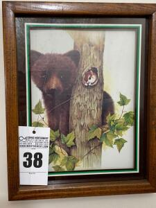 Framed print featuring bear and squirrel - 15 1/4 x 12 1/4 - D