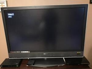 "Sony Bravia HDTV 43"" Wide, 28"" Tall, 4"" Deep - Comes with Remote and Instruction Manual plus stand. Has multiple video outlets and HDMI hookups."