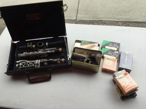 VITO Clarinets in case with variety of mouth pieces & reeds (several in box) some saxophone reeds