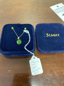 .925 Sterling Stauer Green Helenite Necklace and Earrings