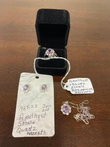 .925 Sterling Amethyst Stone Quartz Accent Ring, Necklace, and Ear Rings