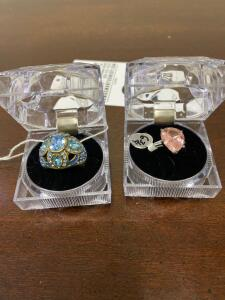 Pair of Fashionable Rings - Pink ring is .925 Sterling - Blue Ring is Brass