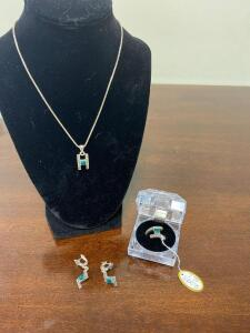 .925 Sterling Matching Necklace, Ring, and Ear Rings - Display not included