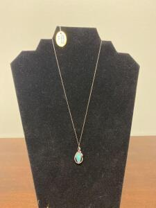 .925 Sterling Opal with Diamond Necklace - Display not included