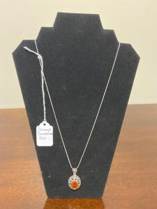 .925 Sterling Orange Tourmaline Necklace - Display not included