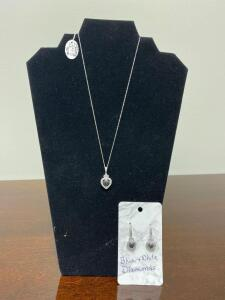 .925 Sterling White and Blue Diamond Necklace and Earrings - Display not included