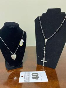 .925 Sterling Diamond Locket Necklace & Fashionable Crucifix Necklace - Display not included