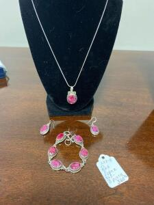 3 Piece .925 Sterling Natural Red Topaz Matching Necklace, Ear Rings, and Bracelet - Display not included