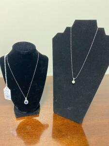 Sterling White Sapphire and Lg. Blue Sapphire Necklaces - Display not included
