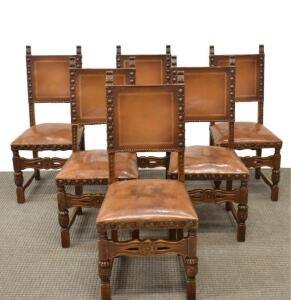 ANTIQUE RUSTIC FRENCH CARVED OAK & LEATHER DINING CHAIRS- Preview by appointment only. Please contact Spencer Montgomery 615-785-7136 to set up an appointment